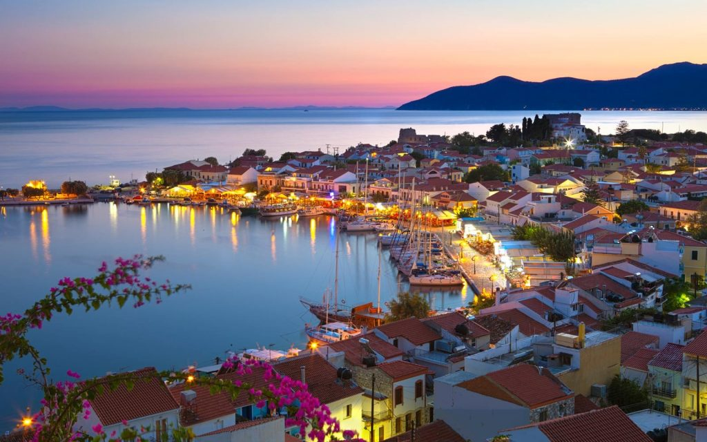 harbour at dusk in greece